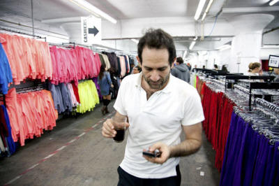 Dov takes a moment to walk around the factory during our Warehouse Sale.