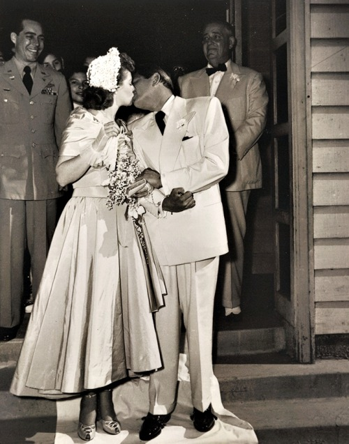 Lucy and Desi following their second wedding at Our Lady of the Valley Church in Canoga Park, California, June 19, 1949.