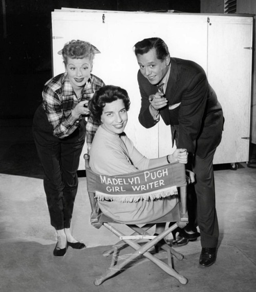 Lucy and Desi with Madelyn Pugh Davis, one of the writers of Lucy's radio show My Favorite Husband and television shows I Love Lucy, The Lucy Show, and Here's Lucy.