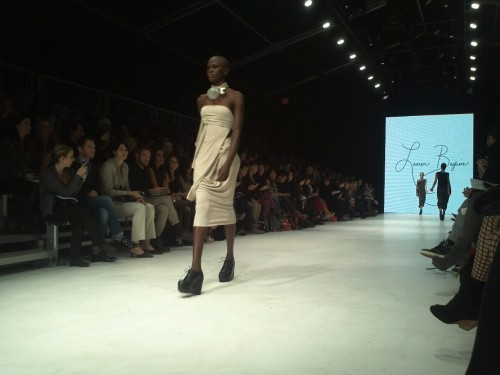 Lauren Bagliore shows in blacks and whites. #LGFW