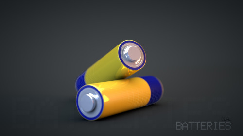 A couple of Batteries. Trying out the C4D's New Physical Render.