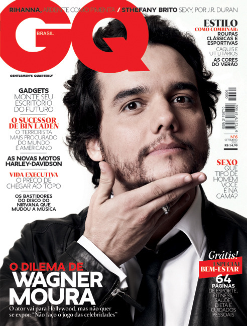 Cover of GQ Brasil #06 (September 2011). Wagner Moura photographed by Bob Wolfenson, in Rio. The way Wagner holds his head resulted in a strong and unusual portrait, he is very good with gestures and expressions. The leather jacket makes a perfect match for this scene.