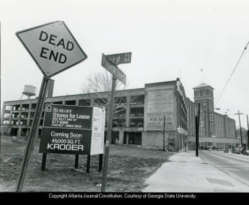 Development of Ford Factory Square on Ponce de Leon Avenue in 1985.  Atlanta (via Georgia State University Library Digital Collections : Item Viewer)