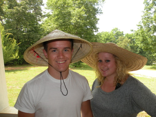 we like hats. this is my brother. and me.