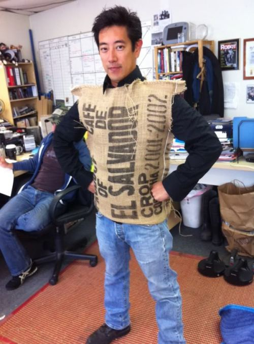 Grant Imahara. Wearing a Coffee sack. As you do.