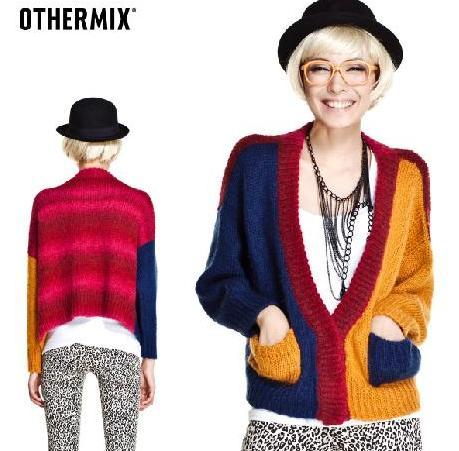 colorblock don't just stop after summer. we're doing it for our fuzzy cardigans as well for a chic-geek look!