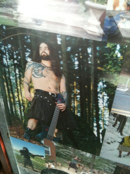 "This man paid someone to photograph him in his utilikilt, with his guitar, in the woods, shirtless. He undoubtedly has this framed and displayed in his house. Probably in his ""Mordor"" room."
