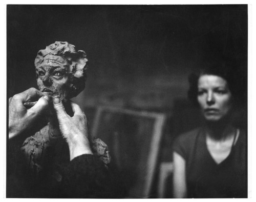 Annette posing as a model for Alberto Giacometti, Paris, France, 1962 Photo by Franco Cianetti via nantes, mrmontag, burnedshoes, more artists & their working place
