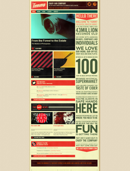 weandthecolor:  Nice Retro Website Design by Tommy (www.thisistommy.com). More web design inspiration. posted byW.A.T.C. // Facebook // Twitter // Google+