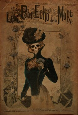 "metalonmetalblog:  Macabre parody of ""Le Petit Echo de la Mode"", the first magazine for women (1880)"