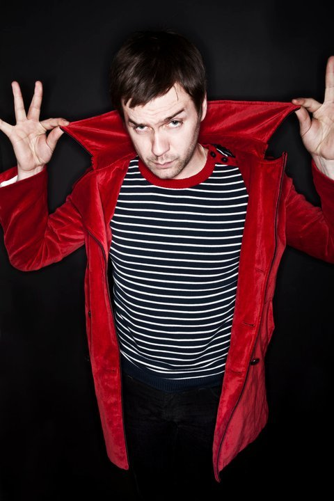 Tom from Kasabian wearing our Madcap England 'Breton' Jumper in Navy http://www.atomretro.com/product_info.cfm?product_id=4835