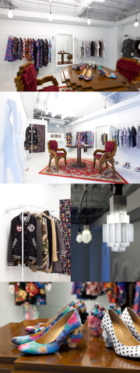 Anrealage is  a shop in Harajuku, Tokyo that specializes in pixelated clothing  designs, but if you visit their store you can see an entire room in all  its nostalgic 8-bit glory, right down to the pixelized light bulbs (that  work!) and pixel carpet patterns. I'm just curious where they keep the  power-ups.