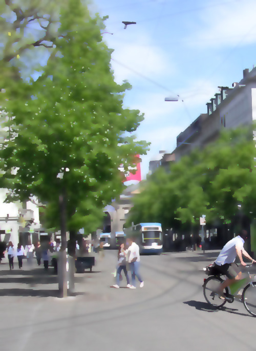 Integrated multi-modal urban mobility in practice.  Bahnhofstrasse, Zurich, Switzerland