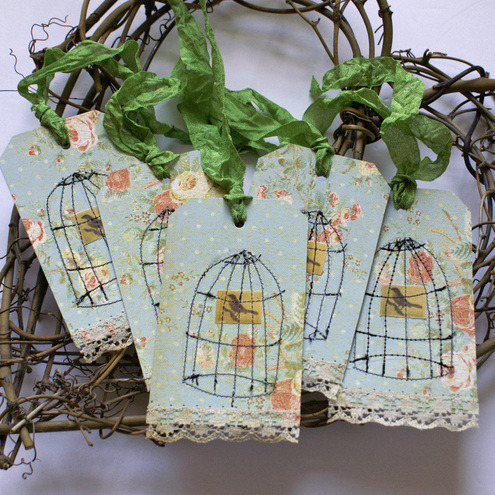 "Aren't these pretty, with the cages stitched on? (via Folksy :: Buy ""Gift Tags"")"