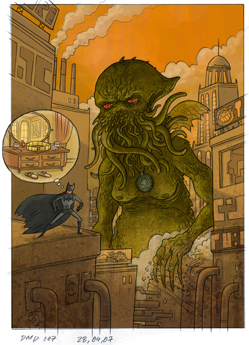 Uh oh… Batman and Cthulhu by Scott Vanden Bosch via scottvandenbosch.blogspot.com