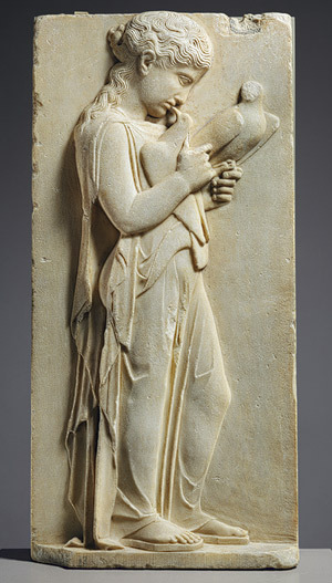 Grave stele of a little girl, ca. 450–440 b.c.GreekParian marble  Grave stelai, like this one, would have been erected in Greek cemeteries in memory of the deceased.