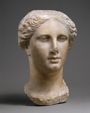 Head of a Ptolemaic queen, Hellenistic, ca. 270–250 b.c.GreekMarble  It probably represents a member of the Ptolemaic dynasty—the succession  of Macedonian Greeks who ruled Egypt from the death of Alexander the  Great in 323 B.C. until the annexation of Egypt by Rome and the suicide  of Cleopatra in 30 B.C. Recently it has been identified as the head of  Arsinoë II, who ruled with her brother, Ptolemy II, from 278 B.C. until  her death in 270 B.C. The queen was part of a dynastic ruler cult during  her life. And, after her death, her brother made her an independent  deity. She was worshiped as an Egyptian goddess in association with  Isis and also as a Greek goddess, with her own sanctuaries and  festivals. This strongly idealized head, which resembles classical  images of Hera and Demeter, was probably associated with that cult. It  presents the queen in a highly idealized manner based on the refined  classical style developed in Greece during the fourth century B.C.
