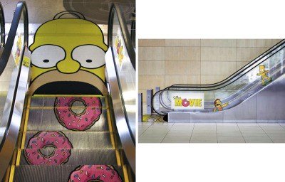 jaymug:  Homer Simpson Movie Advertising: Escalator