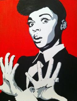 Janelle Monae Canvas A late birthday gift from Kirsty… Love it  Check out her other work : http://www.flickr.com/photos/thorpey74/