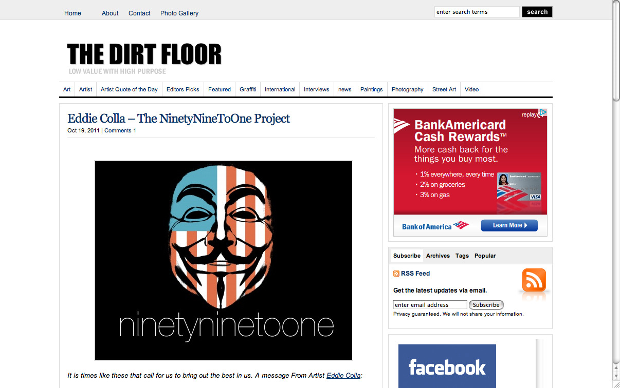 thedirtfloor.com covered my ninetyninetoone sticker campaign. I love the irony of the bank of america ad running in the sidebar. Sticker packs can still be requested by sending your address to WTF@57-33.com