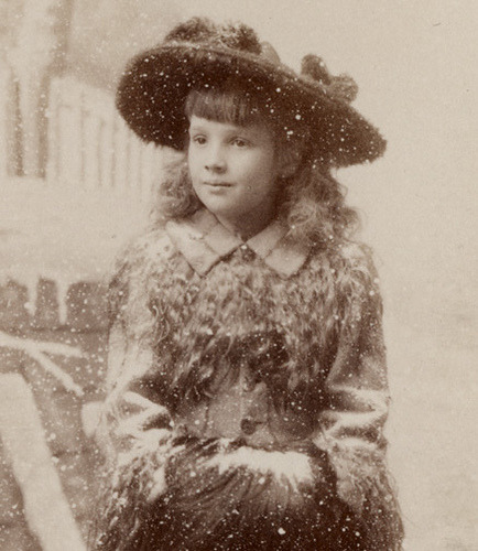 soyouthinkyoucansee:  Girl in Snow - Detail of Cabinet Card
