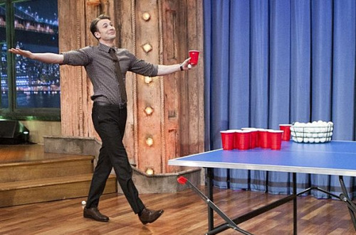"Chris Evans playing beer pong on the set of Late Night with Jimmy Fallon. ""YOU MAD?"" XD"