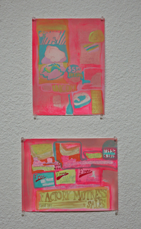 Untitled Drawings, spray paint, gouache, Sharpie, Micron pen on paper; 2011.