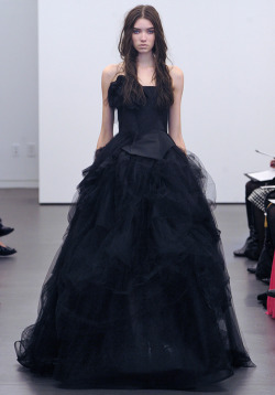vera wang    Gothic bridal dress. I love it! However my mother would be quite upset and possibly disown me.Sadness.