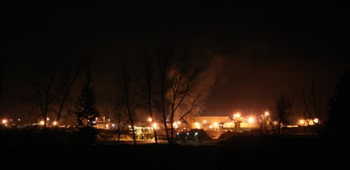 View of a standard night over a lumber mill here in BC.