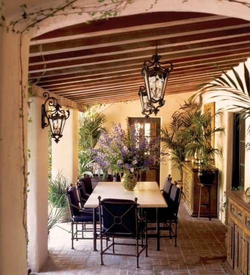 Romantic outdoor dining room (via Corbett Lighting - mediterranean - patio - miami - by Capitol Lighting)