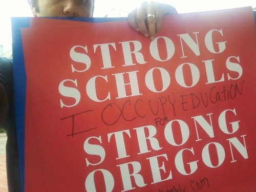 occupyedu:   I occupy education because I believe strong schools and strong teachers not corporate for-profit reformers makes Oregon and the nation strong!    I occupy education by helping to end standardize testing and to support Holistic quality public education that is centered on passion and project based learning, meaningful and engaging work, a connection to place and life and treats every student, teachers and family as if they matter.    I occupy education because a strong public education system supports a strong democracy!