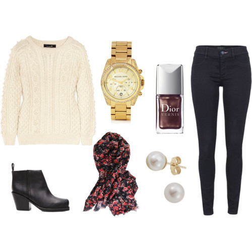 Fall Outfit: Plain and Simple by kimaginethis  Isabel Marant long sleeve top, £465Juicy couture jeans, $125Acne twisted boots, €387Michael Kors Watches chunky jewelry, $328London Road tahitian pearl stud earrings, £85Cacharel square shawl, $350Dior Vernis 'Fall 2011' Nail Lacquer New World Purple 886 One Size, $22