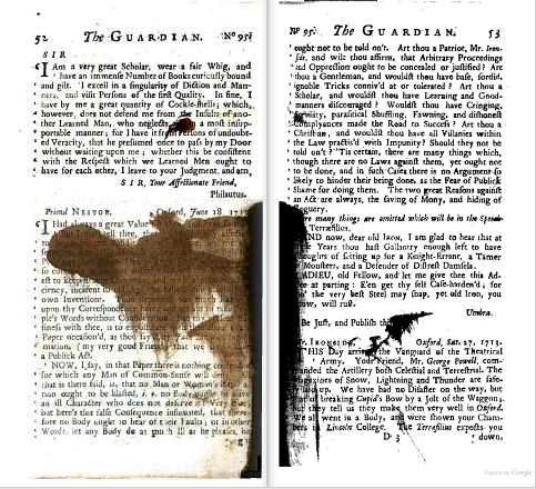 Spilled ink. From p. 52-53 of The Guardian, by Sir Richard Steele and Joseph Addison (1714). [Here]