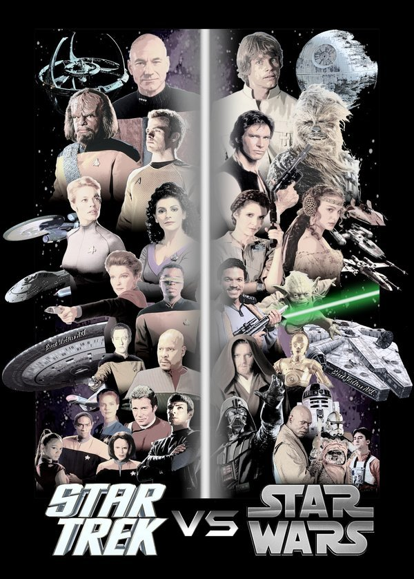 "assorted-goodness:  Star Trek vs Star Wars Poster by Brett. I'm tired of the ""which is better"" debate between Star Wars and Star Trek. I've never been able to compare the two really. Yes, they both involve spaceships and aliens, but they are completely different. I love both of them.    Ok but why is Lt Torres mirroring the Ewok"