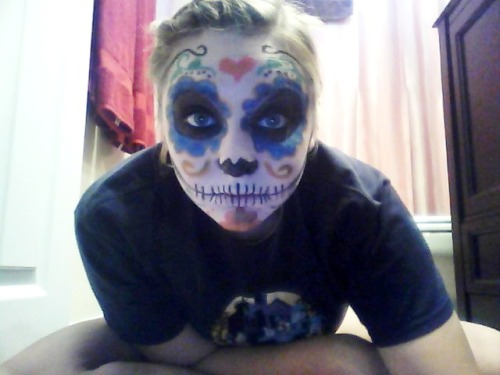 practicing sugar skull makeup for my halloween costume!