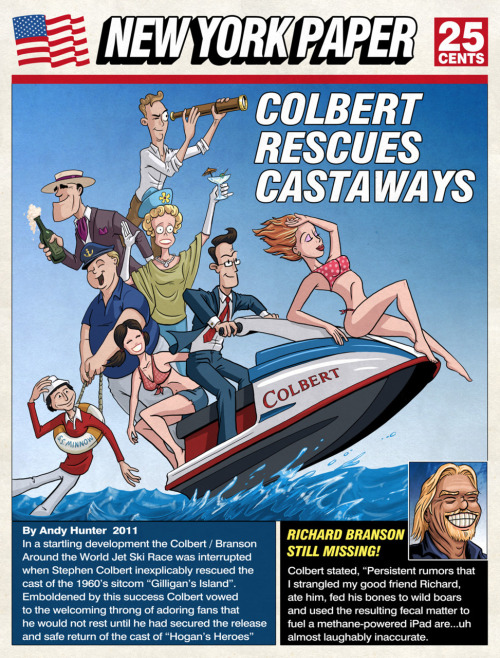 COLBERT RESCUES CASTAWAYS  All Colbert Octobert Week Three Mash-up Stephen Colbert / Gilligan's Island  Order a print of this illustration here: http://www.redbubble.com/people/andyjhunter/works/9504534-colbert-saves-castaways