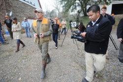 Rick Perry went hunting in Iowa Saturday:  Dressed in camouflage boots and a neon orange vest, the Texas governor  went on a shooting expedition with Steve King, an Iowa congressman who  is influential among social conservatives in the state. King, who is  personally close to Michele Bachmann, has yet to endorse in the  Republican presidential primary.