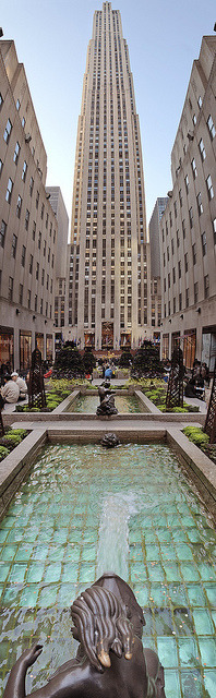Rockefeller Center, NYC, New Yorkby  gamma-infinity Lovely shot from the POV of one of the plaza's water features.