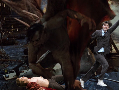 literateknits:  davidtennantinplacesheshouldntbe:  Dracula punching Edward. David Tennant in attendance.  To make it up to Emma a bit I complied with a request from the blog and had Dracula punching Edward. I used the Van Helsing Dracula, because I love that movie and most other Draculas don't engage in fisticuffs. Now that I said that I realized I could have used the Batgirl Draculas… I do love that issue.  Please note the bolded word above. Also note that I made this post 6 FULL MONTHS before I started reading Homestuck. Further note that I was not being particularly ironic. So I used fisticuffs in a sentence. On purpose. Without irony. Because apparently I really am Jake. Finally, note that I am done.