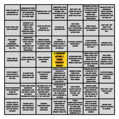 Today Tonight/ A Current Affair Bingo