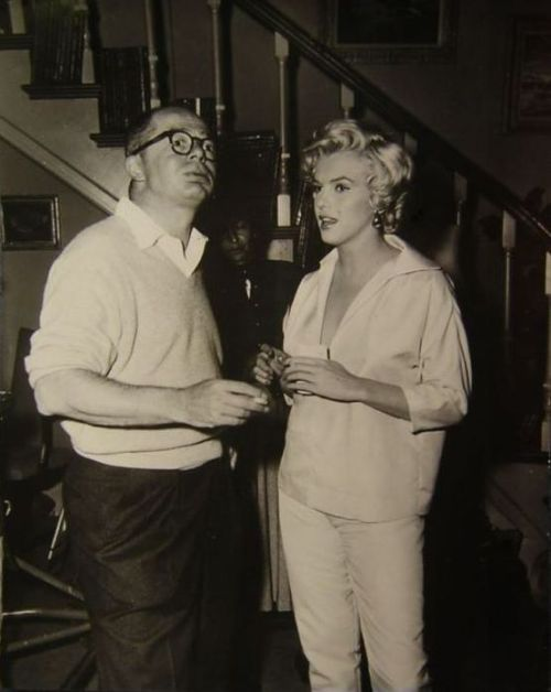 "Marilyn Monroe with Billy Wilder on the set of ""Some Like It Hot"" (1959)"