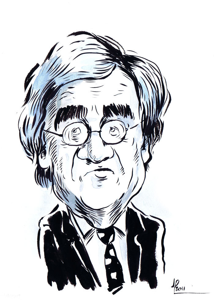 Barrister Ron Merkel. Ink & watercolour sketch off Q&A 10th October 2011