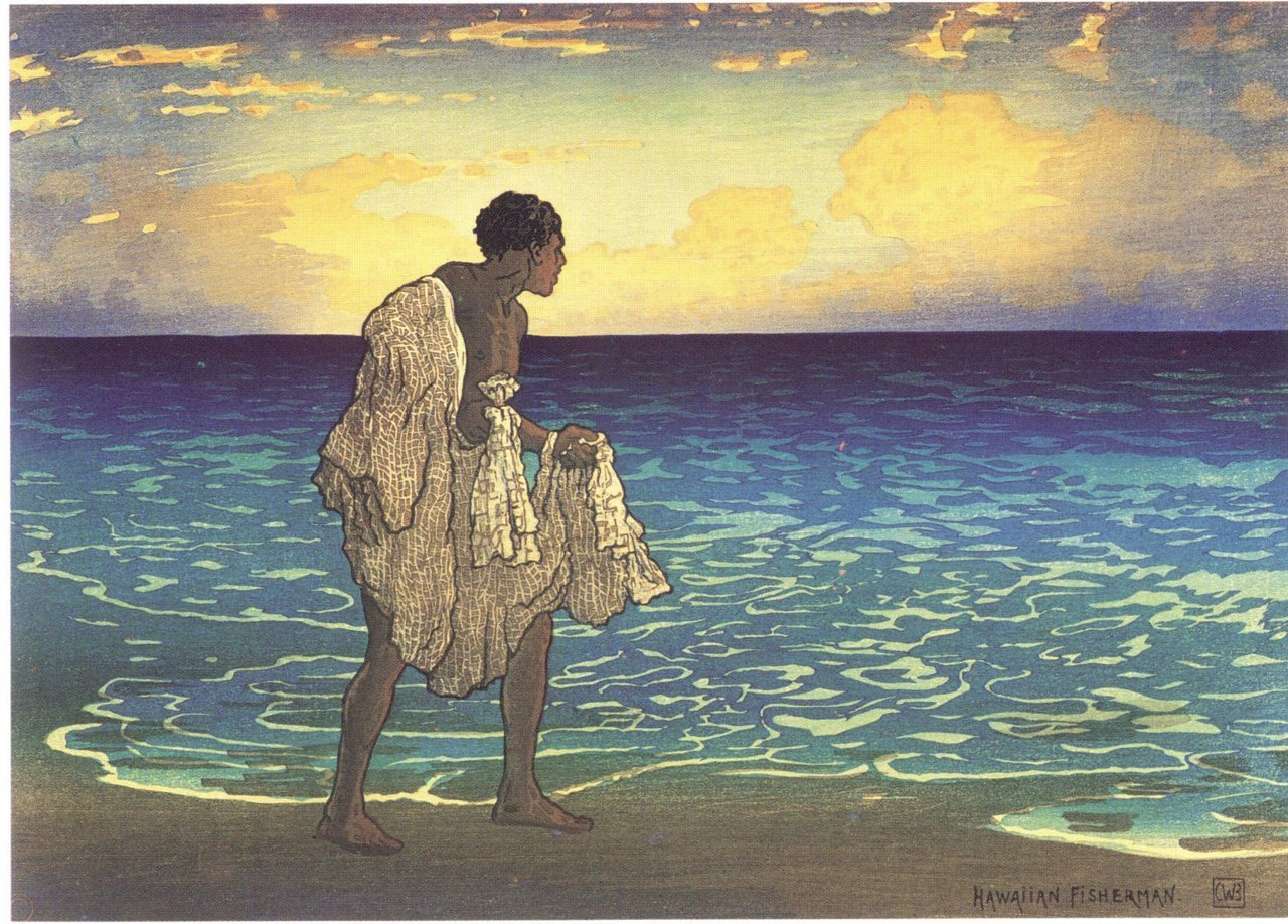 missfolly:  Hawaiian Fisherman, 1919, by Charles W. Bartlett