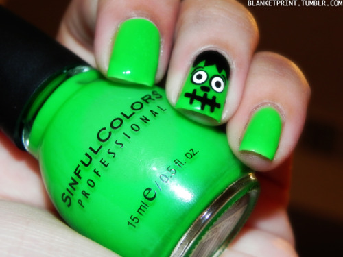 13 Manicures of Halloween - Day 6 Color: Irish Green (Sinful Colors)Retail Price: $1.50 (USD) This shade is an incredibly sheer neon kelly green. I think it would be perfect for a Frankenstein manicure. Use a black striper to draw on the scar across his forehead (if your nail's big enough!) and his mouth, and a toothpick or dotting tool to create eyes and other facial details. Easy! Although, I think I ended up creating what looks more like Billy Butcherson from Hocus Pocus…lol! The formula for this polish is average for a neon color, so I wasn't too bothered that I needed four coats for full opacity. It was expected. For the price, I think this is a great nail polish to add to your stash, even if you only whip it out for Halloween or St. Patrick's Day!