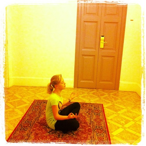 Luana morning meditating (Taken with Instagram at Hostal Casa Gracia)