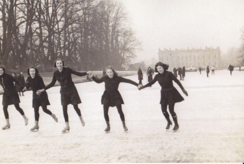 Penrhos school girls skating on the frozen Canal Pond during their occupation of Chatsworth House in the Second World War.