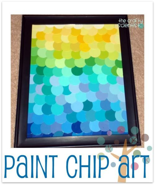 Paint Chip Art {how to} Found at:http://www.thecraftyscientist.com