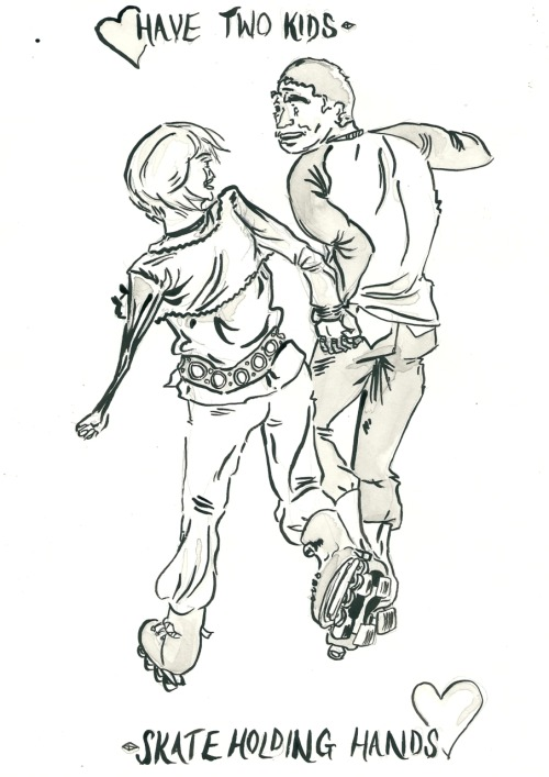 For most of the ROLLER DISCO, these two were taking their two novice-on-wheels kids round or taking the opportunity to skate a bit faster alone,  BUT THEN  Awww!