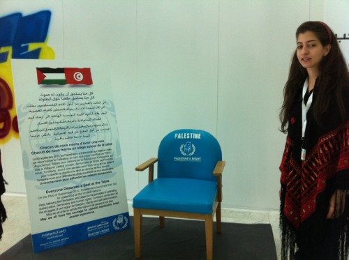 Palestine UN chair displayed in Tunisian election press centre.