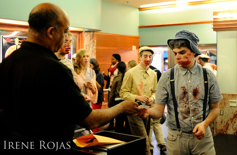 "Zombies head into the AFI Silver Theatre for a screening of ""Dead Snow"" after the Silver Spring Zombie Walk"